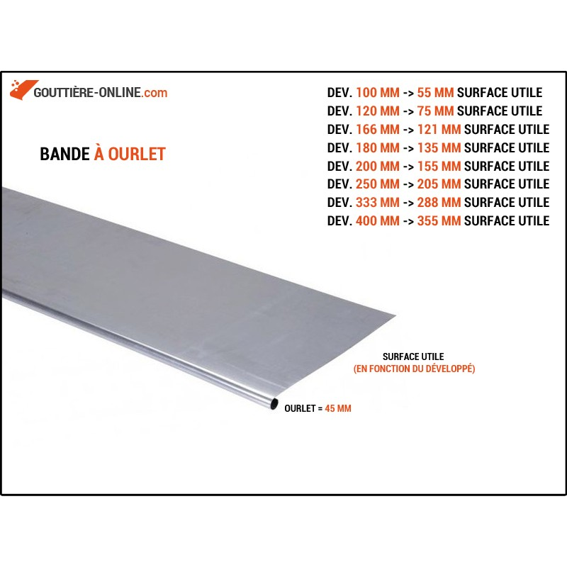 bande ourlet aluminium marron gouttiere online. Black Bedroom Furniture Sets. Home Design Ideas